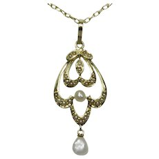 Antique Edwardian 14K Gold Seed Pearl Lavaliere Pendant