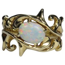 Vintage 14K Gold Opal Solitaire Scrollwork Ring