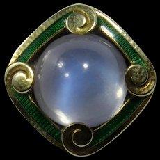 Antique Art Nouveau 14K Gold Enamel Moonstone Stick Pin