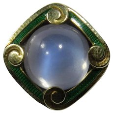 Antique Art Nouveau 14K Gold Enamel Moonstone Stick Pin