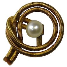 Antique Victorian 14K Gold Pearl Stick Pin