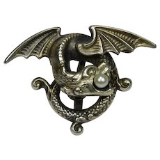 Antique Art Nouveau Sterling Silver Seed Pearl Dragon Griffin Watch Pin/Brooch