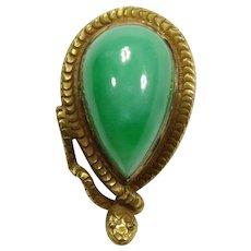 Antique Victorian 14K Gold Jade/Jadeite Snake Serpent Stick Pin
