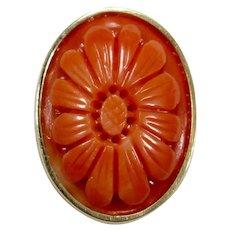 Vintage Art Deco 14K 10K Gold Carved Salmon Coral Flower Stick Pin