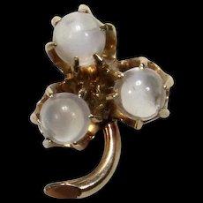 Antique Victorian 10K Gold Moonstone Shamrock Stick Pin