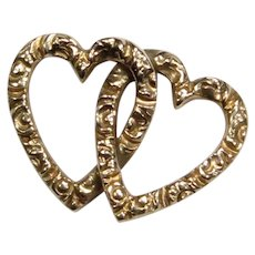 Antique Victorian 10K Gold Double Heart Stick Pin