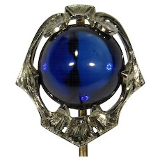 Antique Art Deco 14K White & Yellow Gold Large Sapphire Stick Pin