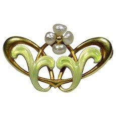 Antique Art Nouveau 14K Gold Bippart Griscom & Osburn Enamel & Pearl Brooch