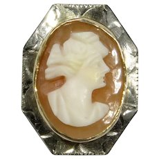Antique Art Deco 10K Gold Shell Cameo Stick Pin/Stickpin