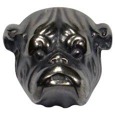 Antique Art Nouveau Sterling Silver Bulldog Bull Dog Stick Pin