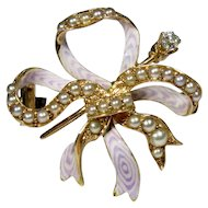 Antique Edwardian 14K Gold Enamel, Seed Pearl & Diamond Bow Watch Pin Brooch