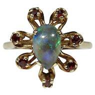 Vintage 10K Gold Solid Crystal Opal & Garnet Dinner Ring