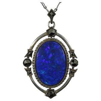 Antique Art Deco 800 Silver Opal & Marcasite Necklace Pendant