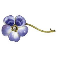 Antique Art Nouveau 14K 18K Gold Enamel & Diamond Flower Brooch