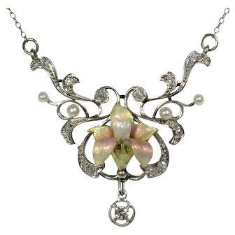 Antique Edwardian Belle Epoque Platinum & 14K Gold Diamond, Pearl & Enamel Lavaliere Necklace