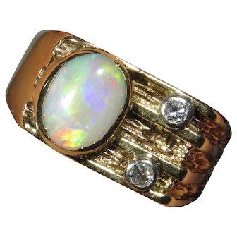 Vintage Retro 14K Gold Opal & Diamond Man's Men's Ring