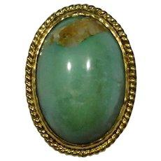 Antique Edwardian 10K Gold Turquoise Cabochon Stick Pin