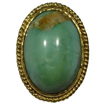 Antique Edwardian 10K Gold Turquoise Cabochon Stick Pin