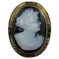 Antique Edwardian 14K Gold Layer Onyx Agate Cameo Stick Pin