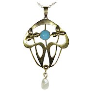 Antique Victorian 9CT Gold Turquoise & Pearl English Large Lavaliere Pendant