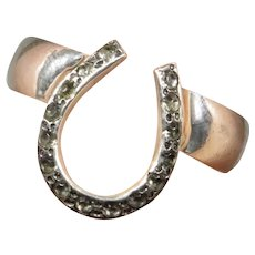 Art Deco Sterling Silver Horseshoe Stick Pin Conversion Ring - One of a Kind!