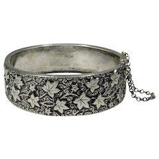 Antique Victorian 800 Silver Ornately Detailed Hinged Bangle Bracelet