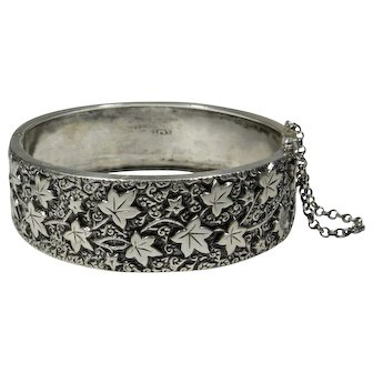 Antique Victorian 800 Silver Ornately Detailed Hinged Bangle Bracelet