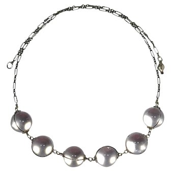 Antique Art Deco Sterling Silver Pools of Light Rock Crystal Orb Necklace