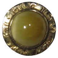 Antique Edwardian 14K Gold Yellow Cats Eye Chrysoberyl Cabochon Stick Pin