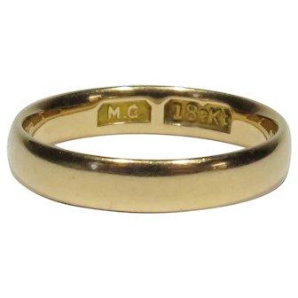 Antique Edwardian 18K Gold Rounded Wedding Band Ring