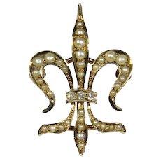 Antique Edwardian 14K Gold Seed Pearl & Diamond Fleur De Lis/Lys Watch Pin/Brooch