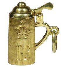Vintage 14K Gold HB Hofbräuhaus Beer Stein Mechanical Pendant Charm