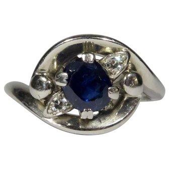 Vintage Retro Palladium Sapphire & Diamond Dinner Ring