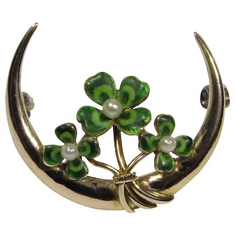 Antique Art Nouveau 14K Gold Krementz Enamel Four Leaf Clover Crescent Moon Brooch