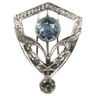 Antique Edwardian 14K Gold & Platinum Aquamarine & Diamond Stick Pin