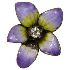 Antique Art Nouveau 14K Gold Diamond Enamel Pansy Violet Flower Stick Pin