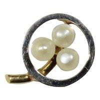 Antique Edwardian 14K Gold & Platinum Seed Pearl Clover Shamrock Stick Pin