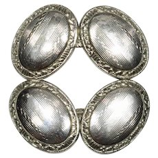 Antique Art Deco 10K White Gold Etched Oval Cufflinks Cuff Links