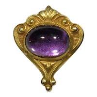 Antique Art Nouveau 14K Gold Amethyst Cabochon Stick Pin