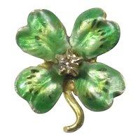 Antique Art Nouveau 10K Gold Enamel & Diamond Clover/Shamrock Stick Pin