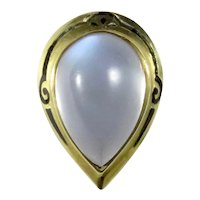 Antique Edwardian 14K Gold Enamel Moonstone Stick Pin