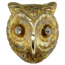 Antique Victorian 18K Gold & Platinum Diamond Owl Stick Pin