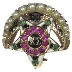 Vintage 10K Gold Kappa Sigma Fraternity Enamel Pearl Ruby Emerald Badge Pin