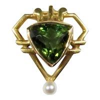 Antique Edwardian 14K Gold Peridot Seed Pearl Stick Pin