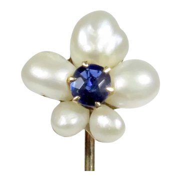 Antique Victorian 10K Gold Pearl & Sapphire Flower Stick Pin