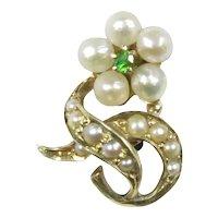 Antique Victorian 18K 14K Gold Seed Pearl & Demantoid Garnet Stick Pin