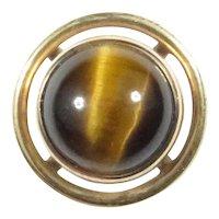 Antique Art Deco 14K Gold Tiger Tiger's Eye Stick Pin
