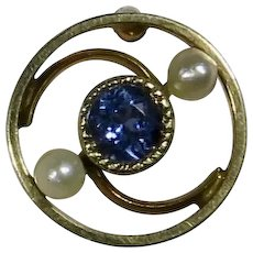 Antique Edwardian 14K Gold Sapphire & Seed Pearl Swirl Stick Pin