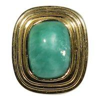 Antique Edwardian 14K Gold Krementz Amazonite Stick Pin