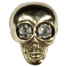 Antique Art Deco 14K Gold Skull W/Diamond Eyes Stick Pin